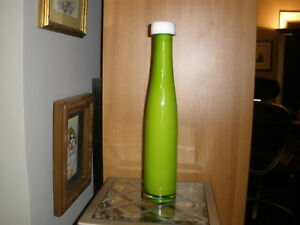 "Crate and Barrel Green Pop Cased Art Glass Vase  made in Poland 15 1/2"" tall."