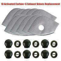 Mask 10 Filtros de carbón activado PM2.5 6 Válvulas de escape de repuesto