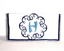 Bamboo Blue Initial H on White Cotton&Vinyl Checkbook Cover #BH-6  New Handmade
