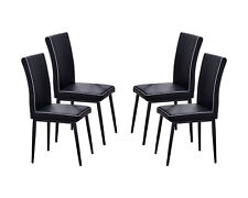 Kings Brand Furniture - Modern Metal /Pu Leather Dining Chairs - Set of 4, Black