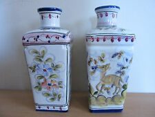 Pair of Bricolarte Portugal Porcelain Painted Vases Signed Marybel/Ausenda 51 9""