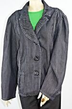 Black Denim Jean Jacket Liz & Me Womens Plus Size 3X Black Oversized Buttons EUC