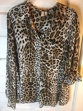 Madison Women Blouse; L; China; Poly; Leapard; Button Up; Down; Long Sleeves