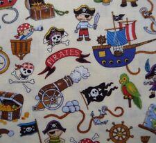 Pirates Treasure Island Ship Map Casket Anchor on Cream Fabric Quilting Craft FQ