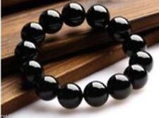 Rare 14mm Black Natural Onyx Round Beads Gemstone Stretch Bracelet 7.5�€ AAA