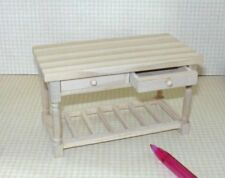 Miniature Aztec Natural Wood Work Table w/Drawers: DOLLHOUSE 1:12 Scale