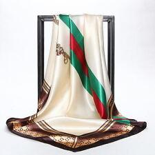 "Satin-Silk Square Scarf New Arrival Printed Beige Women's Fashion Shawl35""*35"""