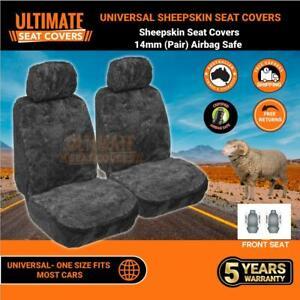 Universal Sheepskin Seat Covers 14MM Genuine Sheepskin Airbag Safe Charcoal