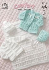 King Cole DK 4ply Knitting Pattern Baby Coat Cardigan Bonnet Hat Pram Cover 3115