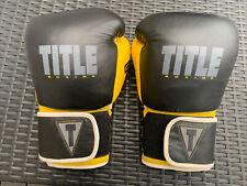 Title Boxing Yellow & Black Size Medium Gel Lining Boxing Gloves Kickboxing