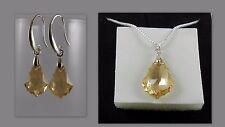 Swarovski Kristallen Ohrringe Halskette Set  Silber 999 Reinheit plattierte gold
