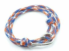 Stainless Steel Fish Hook Bracelet Rope Paracord Wrap Around Cord Nautical