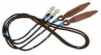 8' Round BROWN TEAL Braided Nylon Split Reins w/ Scissor Snaps & Leather Poppers
