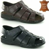 Mens Leather Lightweight Summer Sandals Walking Hiking Beach Holiday Shoes Sizes