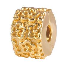 MATERIA Premium Gold Beads Stopper Clip Silber 925 vergoldet Blumen inkl. Box