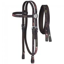 Tough 1 Brown Nylon Horse Size Headstall and Reins in Tough Timber Camo Pattern