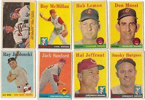 1958 Topps Baseball Card Lot - 16 Different w/Bob Lemon HOF - VG-Ex