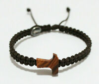 Olive Wood Tau Cross Bracelet on Brown Cord With Medal Jesus And Virgin Mary