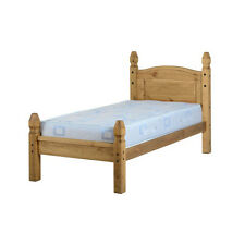 Corona Bed Frame - Single 3ft - Distressed Waxed Pine - Low Foot End