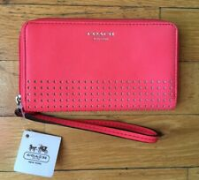 Coach Women's Purse wallet- Watermelon Coral Perforated leather NWT