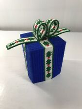 Vintage Knit Tissue Cube Box Holder Cover Holiday Christmas Present Bow Blue