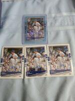 2020 Donruss Optic LOT (4) Kyle Hendricks Blue Prizm 50/50 + 3 BASE Chicago Cubs