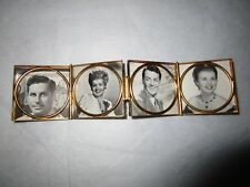 Antique Enameled on Brass Folding Travel Picture Frame Birds and Hearts c1930