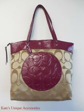 NWT Authentic COACH LAURA SIGNATURE TOTE Bag Purse (KHAKI/Berry) F18335 $298