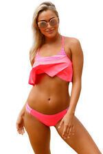 Bright Coral And Stripes Tankini Swimsuit Summer Sexy Bikini Patchwork Ladies