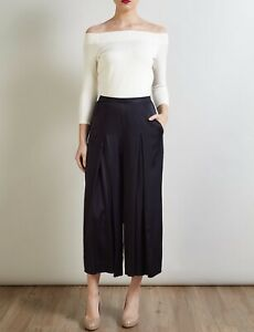 Bruce By Bruce Oldfield Hammered Satin Culottes - Navy / UK 16