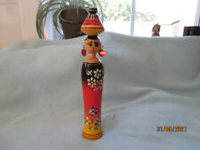Vintage Tall Wooden Doll With Earrings Black Red Yellow Floral  Pattern