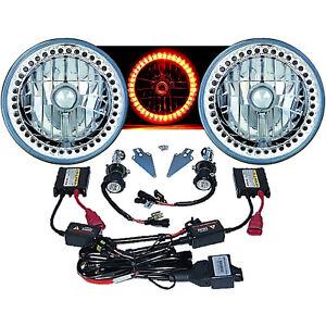 """7"""" HID Amber LED Halo Ring Angel Eye Headlight 6000K 6K Light Lamp Bulb Pair Img"""