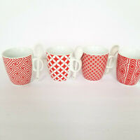 Set of 4 Red Cappuccino Espresso Coffee Chocolate Tea Cups with Little Spoons