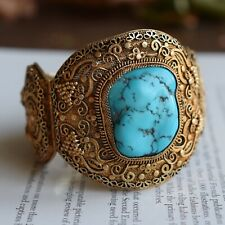 Antique chinese filigree sterling silver bracelet bangle with Turquoise big 70g