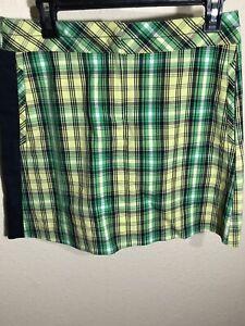 Annnika Cutter & Buck Green Plaid Squirt Golf Size 4 Zipper Pocket