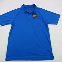 Slazenger Men's Polo Shirt Solid Golfer Blue Short Sleeve Golf Medium NWT