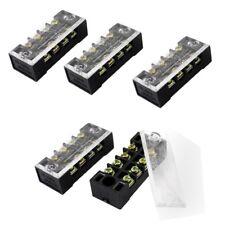 5 Pcs Dual Row 4 Position Covered Screw Terminal Block Strip 600V 15A X5K5