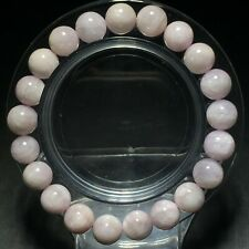 9mm Genuine Natural Purple Kunzite Cat Eye Crystal Round Beads Bracelet