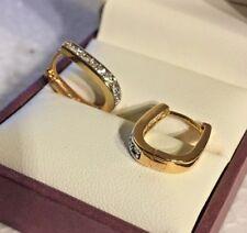 A08 Sim diamond 18k gold filled horseshoe hoop 15mm x 13mm x 3mm BOXED Plum UK