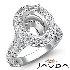 Diamond Engagement Halo Setting Ring Oval Shape Semi Mount 18k White Gold 2.1Ct