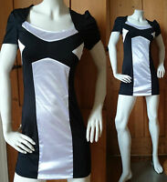 Sexy Silver and Black Stretch Mini Dress Clubbing/Party Size 12/14