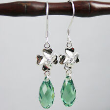 Emerald Green Drop Crystal Clove Flower 925 Silver Earrings Swarovski Elements