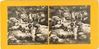 ALGÉRIE Femme Lavandières Rivière, Photo Stereo Vintage Argentique PL62L10