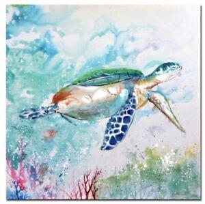 Hamptons Style Beach Sea Turtle Canvas Print Wall Art Hand Painting 50x50cm