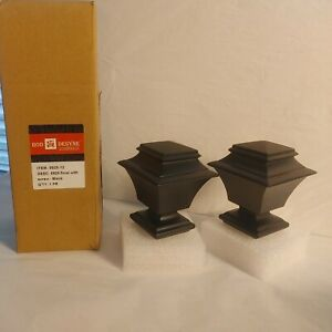 4-Rod Desyne Black Finial with Screw Black 5925-12  4 Pack-2 pair NEW 5925