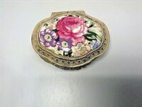 MELE JEWERLY TRINKET BOX FOOTED ENAMEL FLORAL MOTIEF/GOLD TRIM VTG MADE JAPAN