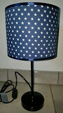 Bedside table lamp night light fabric shade kids blue stars nursery