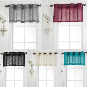 """1 Piece Linen Look Semi Sheer Grommet Top Window Treatment Valance (52"""" W x 18"""")"""