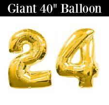 """24 40"""" Gold Number Balloon - 24 Gold Balloon - 24th Birthday Balloon - US SHIP"""