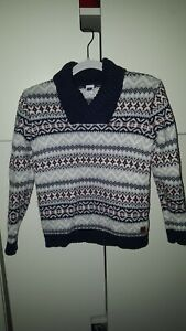 Janie And Jack Boys Sweater Size 5 Gray With Navy Blue Red